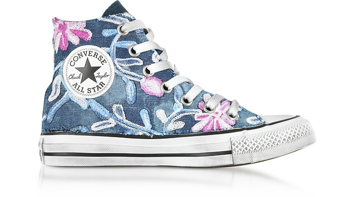 Chuck Taylor All Star High Vintage Denim Flowers Sneakers - Converse  Limited Edition 4ceefc6ff