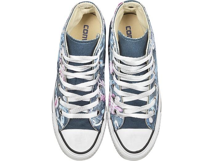 Chuck Taylor All Star Sneakers Montantes en Denim Vintage avec Fleurs Brodées