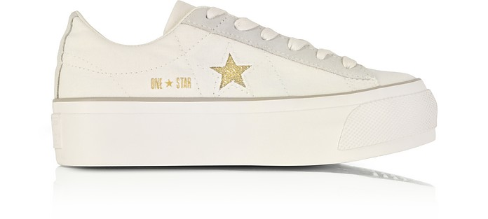 One Star Ox Egret White Canvas Flatform Sneakers w/Gold Glitter Star