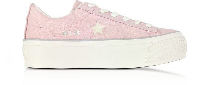 One Star Ox Peach Skin Canvas Flatform Sneakers w/White Glitter Star - Converse Limited Edition
