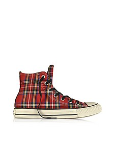All Star HI Textile Red Tartan Sneaker