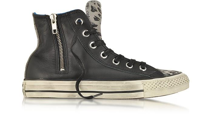All Star HI Sneaker aus Leder und Wildleder mit Tierprint und Reißverschluss