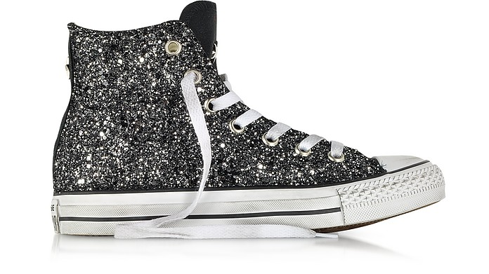 All Star Hi Canvas LTD in Tessuto Nero con Glitter Silver - Converse Limited Edition
