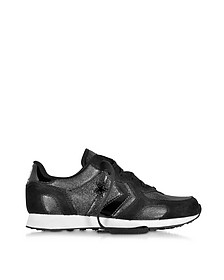 Auckland Racer Ox Black Glam Fabric and Suede Sneaker w/Glitter
