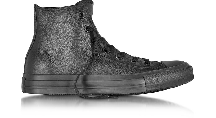 All Star High Black Mono Leather Unisex Sneaker - Converse Limited Edition
