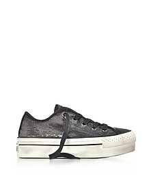 Chuck Taylor All Star High Distressed Flatform Ox Thunder & Black Sequins Sneakers - Converse Limited Edition