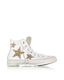 Chuck Taylor All Star High Curved Eyestay Leather Sneakers w/Glitter Stars  - Converse Limited Edition