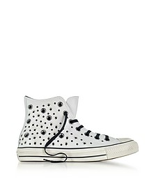 Chuck Taylor All Star High Distressed Pale Putty Leather Sneakers w/Eyelets - Converse Limited Edition