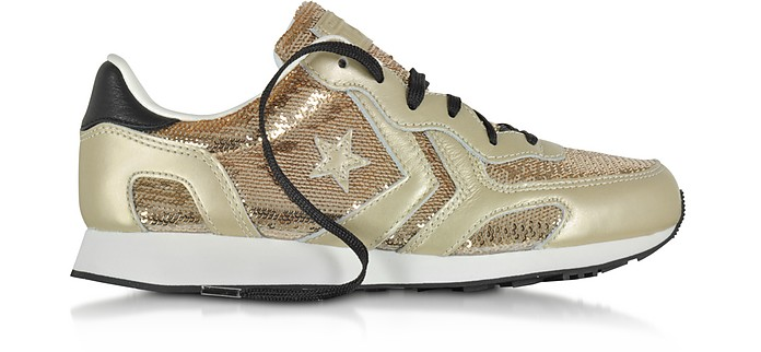Auckland Racer Ox Light Gold Leather Sneakers w/Sequins - Converse Limited Edition