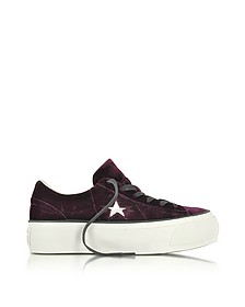 One Star Ox Eclipse Port Wine Velvet Flatform Sneakers - Converse Limited Edition