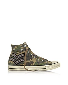 Chuck Taylor All Star Sneakers Altos Unisex de Tejido Verde Militar con Parches - Converse Limited Edition
