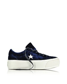 One Star Ox Eclipse Blue Velvet Flatform Sneakers - Converse Limited Edition
