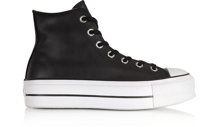 Chuck Taylor All Star Lift Clean Black Leather High Top Platform Sneakers - Converse Limited Edition