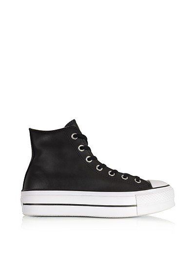 Chuck Taylor All Star Lift Clean Black Leather Higt Top Platform Sneakers - Converse Limited Edition
