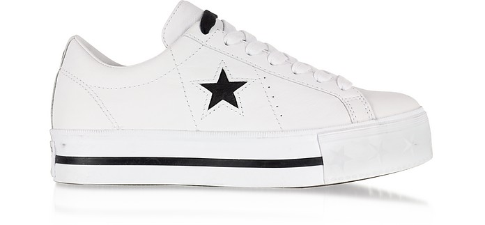 One Star Platform Ox 白色皮革低帮运动鞋 - Converse Limited Edition  匡威