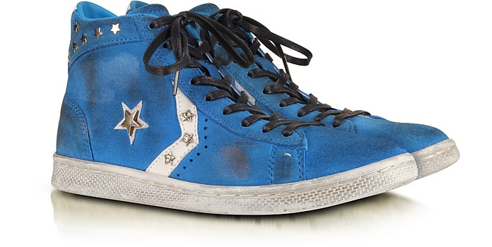 Riviera Blu Suede Pro Leather Mid Sneaker w/Crystals - Converse Limited Edition