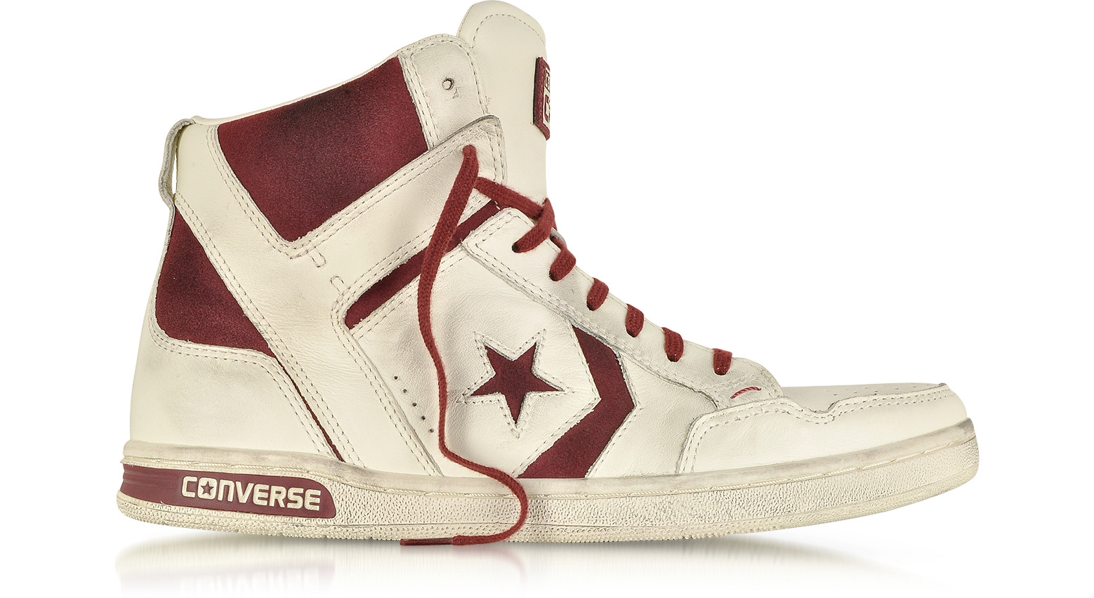 Converse Limited Edition JV Weapon HI White Leather and Burgundy