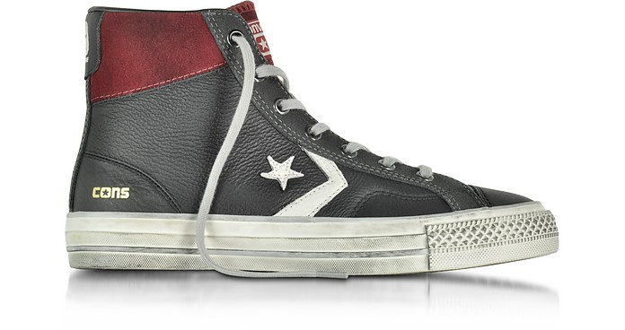 Star Player High BlackTruffle Leather and Suede Men's Sneaker