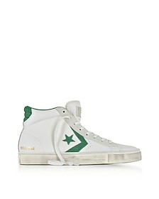 Pro Leather Vulc Mid Distressed White Leather and Pine Green Suede Sneakers - Converse Limited Edition
