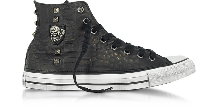 843734e568d8 Chuck Taylor All Star High Black Leather and Canvas LTD Men s Sneakers w  Metal Studs