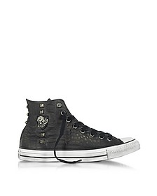 Chuck Taylor All Star High Black Leather and Canvas LTD Men's Sneakers w/Metal Studs - Converse Limited Edition