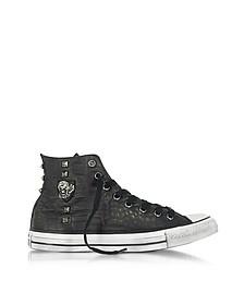 Chuck Taylor All Star - Sneakers Montantes Homme en Cuir Noir Imprimé Croco avec Clous et Crâne - Converse Limited Edition