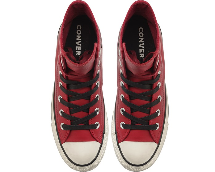 Homme Chuck Montantes Star Cuir Rouge Taylor Sneakers En All thdxsBCQr