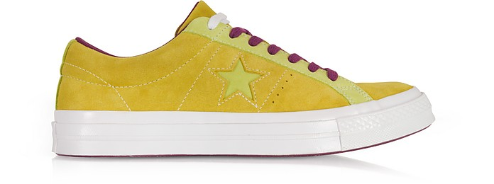 One Star Ox Apple and Shark Green Suede Low Top Men's Sneakers   - Converse Limited Edition