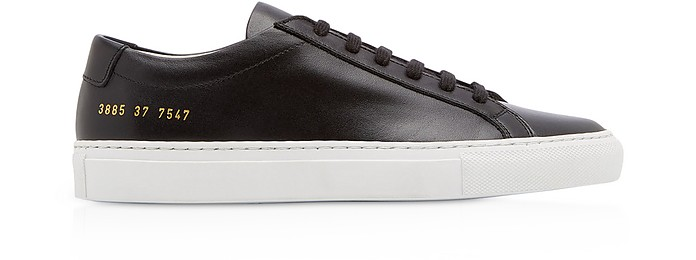 69437ee57ffc Original Achilles Low Black Leather Women's Shoes w/ White Sole - Common  Projects