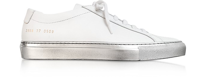 White Achilles Low Women's Sneakers w/Silver Sole - Common Projects