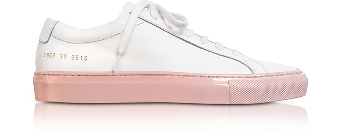 White Achilles Low Women's Sneakers w/Blush Sole - Common Projects