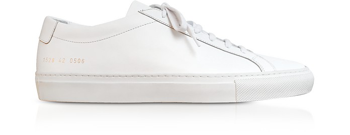 Pure White Leather Tournament Low Super Women's Sneakers - Common Projects