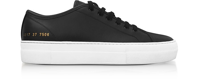 Black Leather Tournament Low Super Women's Sneakers - Common Projects