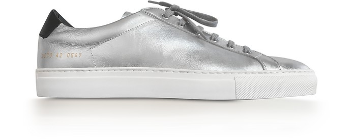 Achilles Retro Low Silver Leather Men's Sneaker - Common Projects