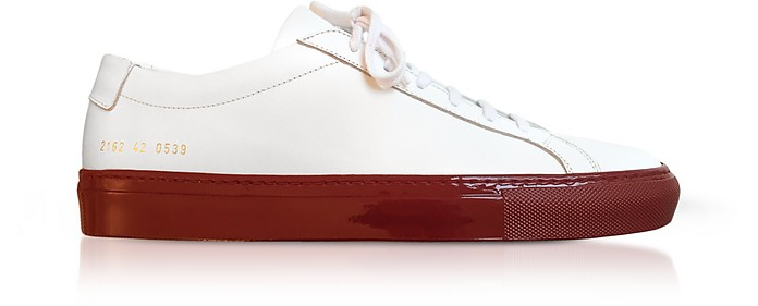 White Leather Achilles Men's Sneakers w/Red Sole - Common Projects