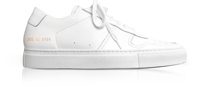 Bball Low White Leather Men's Sneakers - Common Projects