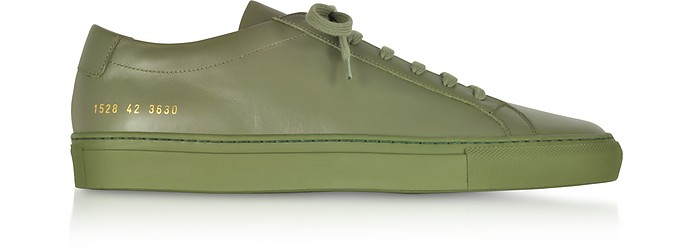 Army Green Leather Original Achilles Low Men's Snaeakers - Common Projects
