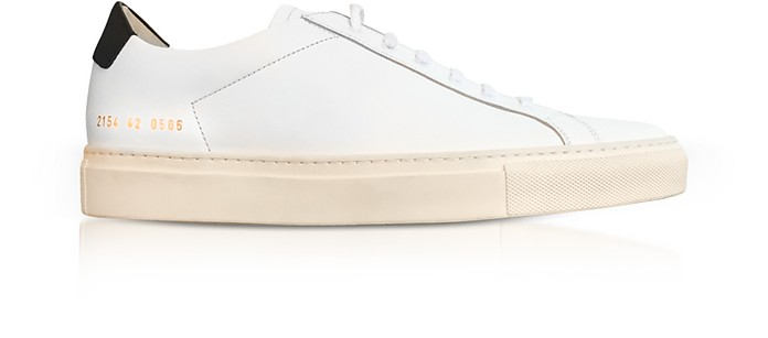 White Leather Retro Low Men's Sneakers - Common Projects