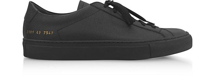 Black Leather Achilles Low Premium Men's Sneakers - Common Projects