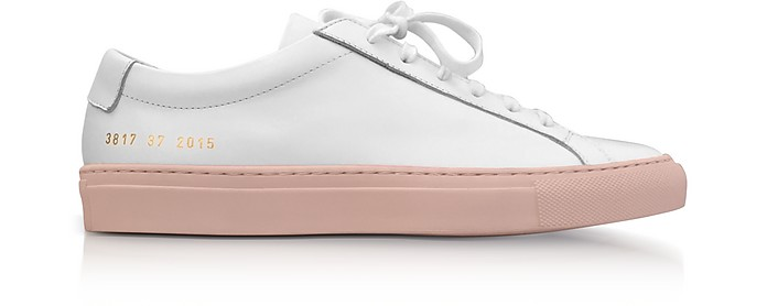 White Leather Achilles Low Top Men's Sneakers w/Blush Rubber Sole - Common Projects