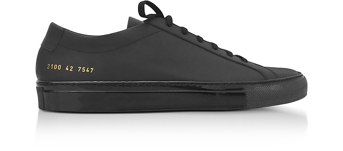 Black Leather Achilles Luxe Men's Sneakers - Common Projects