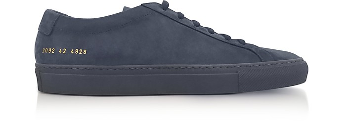 4a04ff4f3fbff Navy Blue Nubuck Original Achilles Low Men s Sneakers - Common Projects