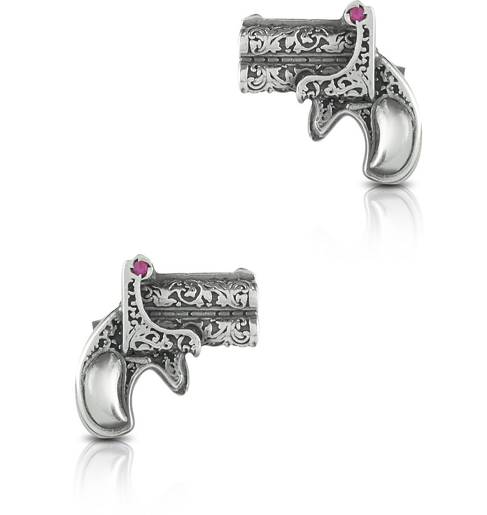 Single Shot Sterling Silver Earrings w/Natural Rubies  - Calibro12