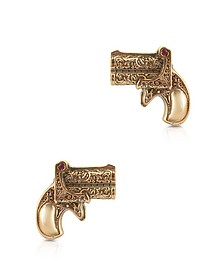 Single Shot Rose Gold Plated Silver Earrings w/Natural Rubies