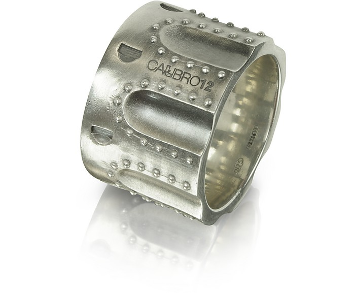 Revolver Stud Burnished Sterling Silver Ring w/Chain - Calibro12