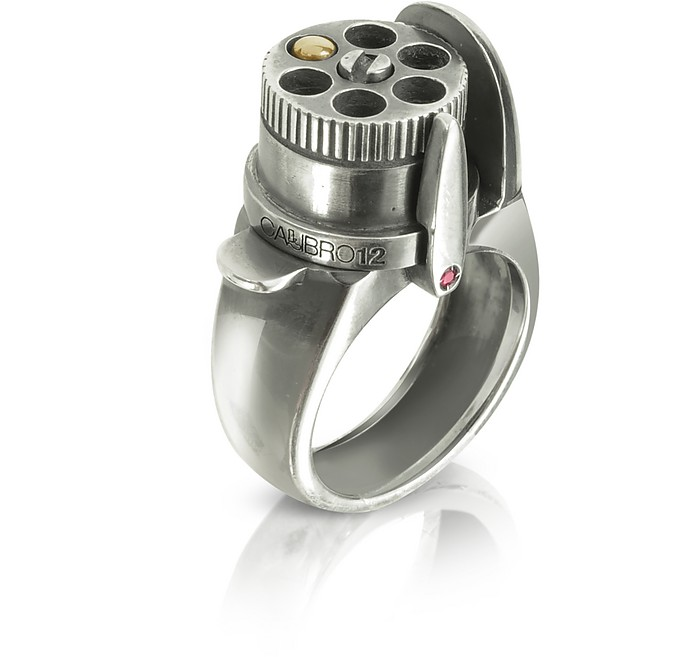 The Revolver Rotating Drum Sterling Silver Black Burnish Ring W/Gold Bullet - Calibro12