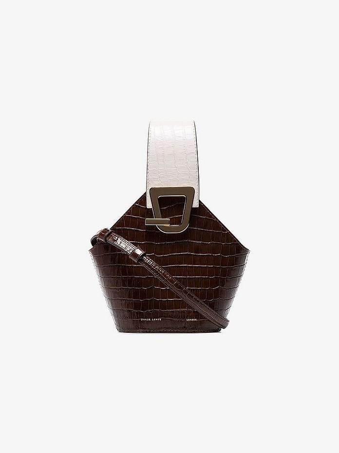 Danse Lente Shoulder Chocolate Brown Johnny Mini Croc Print Leather Shoulder Bag