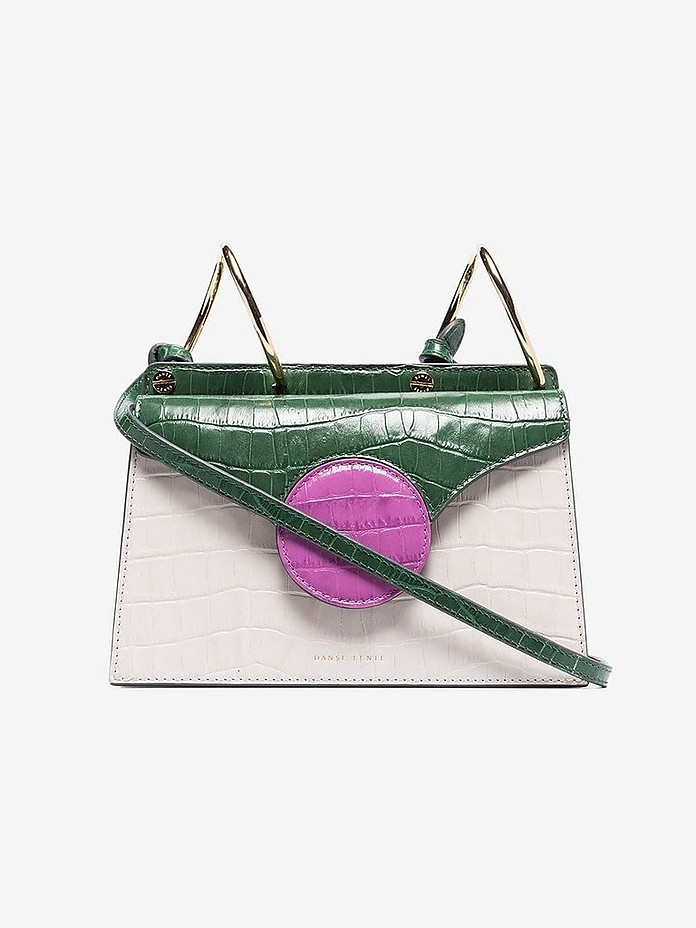 Danse Lente Crossbody Green, Pink and White Mini Phoebe Mock Croc Leather Cross Body Bag