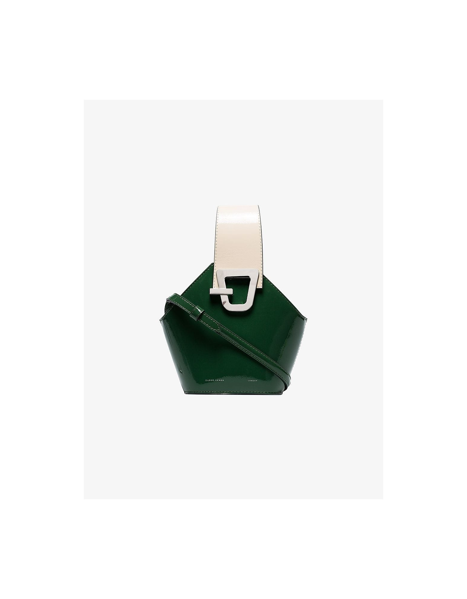 Danse Lente Bags GREEN MINI JOHNNY BUCKET PATENT LEATHER BAG