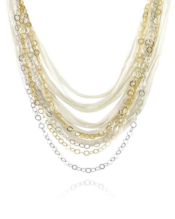Multi-strand Sterling Silver Lace Chain Necklace - Daco Milano